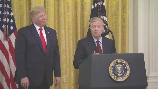 Also called to the lectern, @LindseyGrahamSC said the confirmation hearing for SCOTUS nominee Brett Kavanaugh was the worst experience Ive had in politics. Graham thanked @POTUS for not pulling the plug on the Kavanaugh nomination.