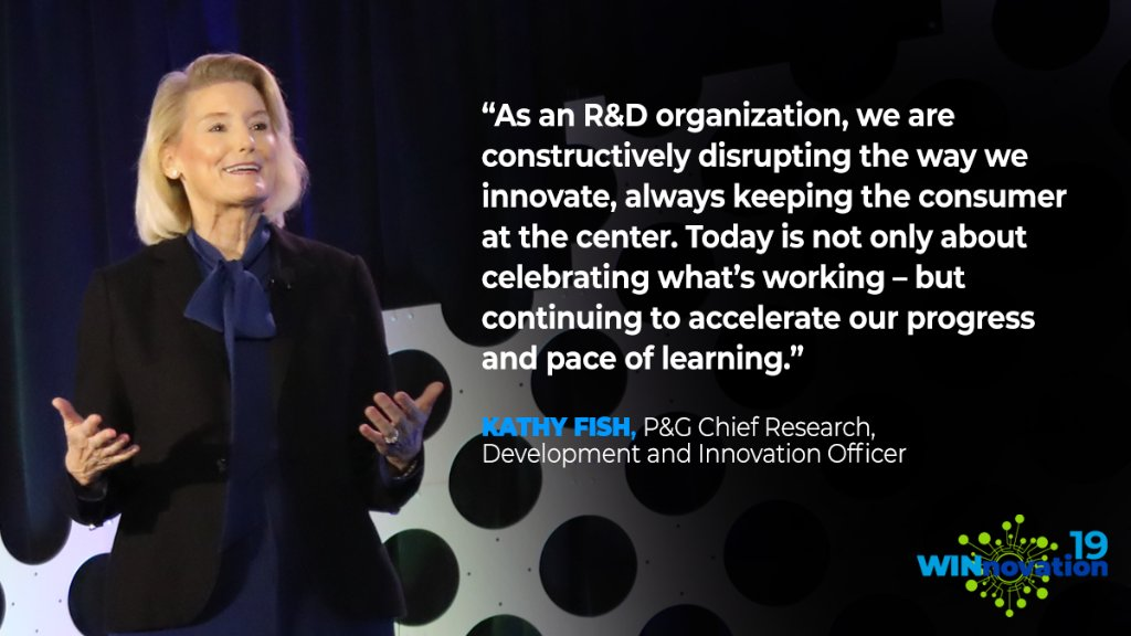 "Kathy Fish, our Chief Research, Development and Innovation Officer, kicked off WINnovation yesterday by highlighting some of our outstanding R&D break-throughs and inspiring P&G leaders to keep a ""growth mindset."" #WINnovation"