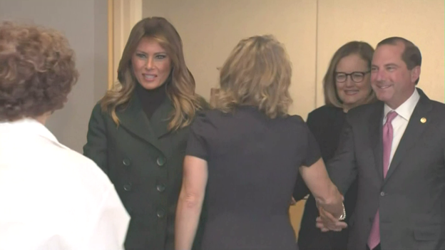 .@FLOTUS and @SecAzar arrive at Boston Medical Center for briefing on new treatments for babies born with Neonatal Abstinence Syndrome, which babies suffer when withdrawing from certain drugs theyre exposed to in the womb before birth.