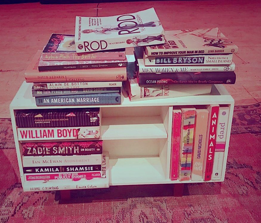 Here's a pic of @thehighlowshow tour bookshelf feat. (most of) the 📚 that moved/ changed/ stayed with us. Part of the show involved a deep-dive into self-help from the past including Jilly Cooper's 1969 How To Stay Married and Lynn Barber's 1973 How To Improve Your Man In Bed.