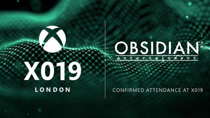 The X019 and Obsidian logos are placed side by side on a green and black textured background. Text Reads: X019 London. Obsidian. Confirmed Attendance at X019.