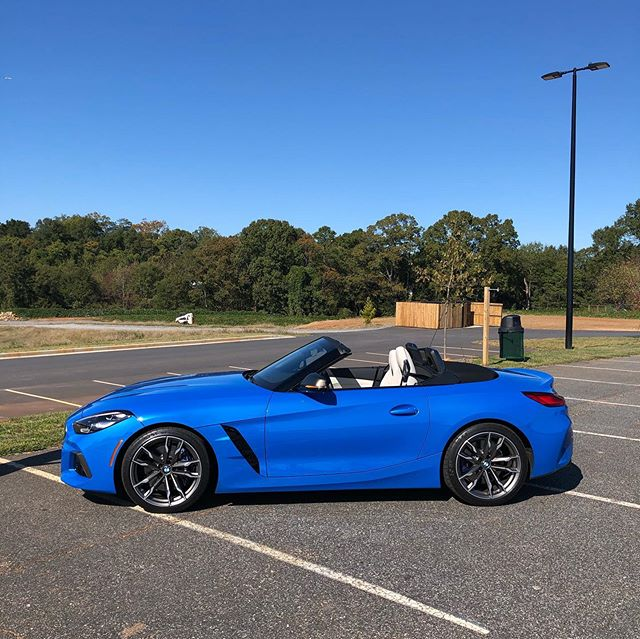 Next up for filming today... The Supra's topless sibling... the 2020 bmwusa #Z4M40i. Thank you #BMW for giving us a brand new #roadster in a world full of SUV's. As tested price for this beautiful Misano blue example is just over $70,000.