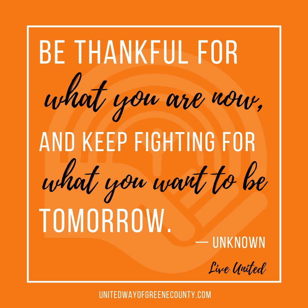 Be thankful for what you are now, and keep fighting for what you want to be tomorrow. - Unknown . . . #LiveUnited #UWGreene #ThankfulQuote <br>http://pic.twitter.com/Pw6OD01Nsr