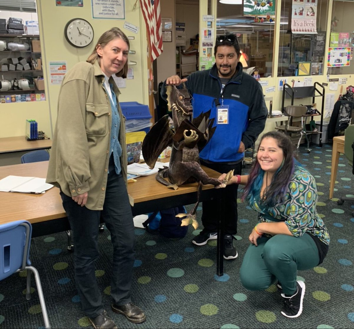 Thanks so much to TJMS alum and Fleet parent Mr.Lionel Cardenas for donating this reading dragon to our library! <a target='_blank' href='http://twitter.com/APSLibrarians'>@APSLibrarians</a> <a target='_blank' href='http://twitter.com/APSVirginia'>@APSVirginia</a> <a target='_blank' href='http://search.twitter.com/search?q=tjmsreads'><a target='_blank' href='https://twitter.com/hashtag/tjmsreads?src=hash'>#tjmsreads</a></a> <a target='_blank' href='http://twitter.com/JeffersonIBMYP'>@JeffersonIBMYP</a> <a target='_blank' href='https://t.co/YA6iuTuDwY'>https://t.co/YA6iuTuDwY</a>