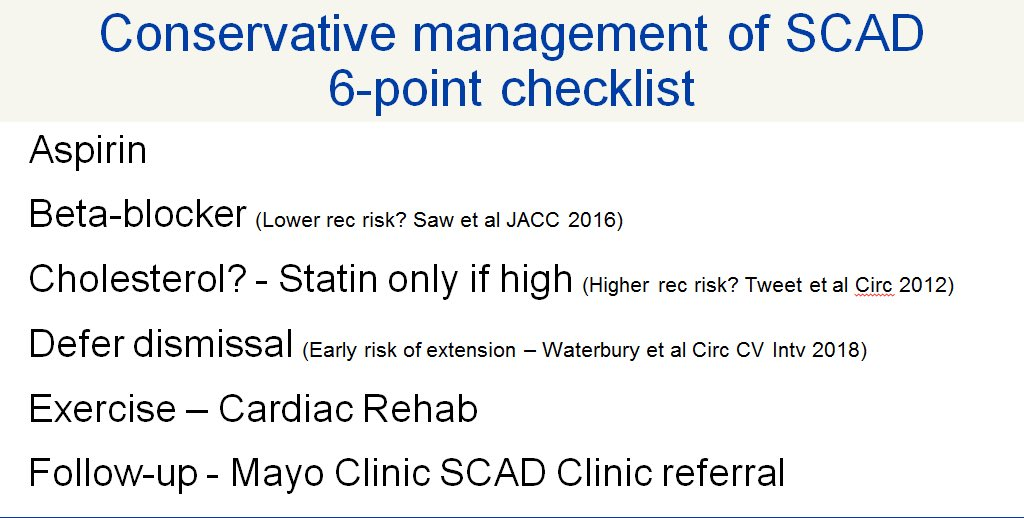ABCDEF of #SCAD early conservative management @marysia_tweet @SharonneHayes @MayoClinicCV