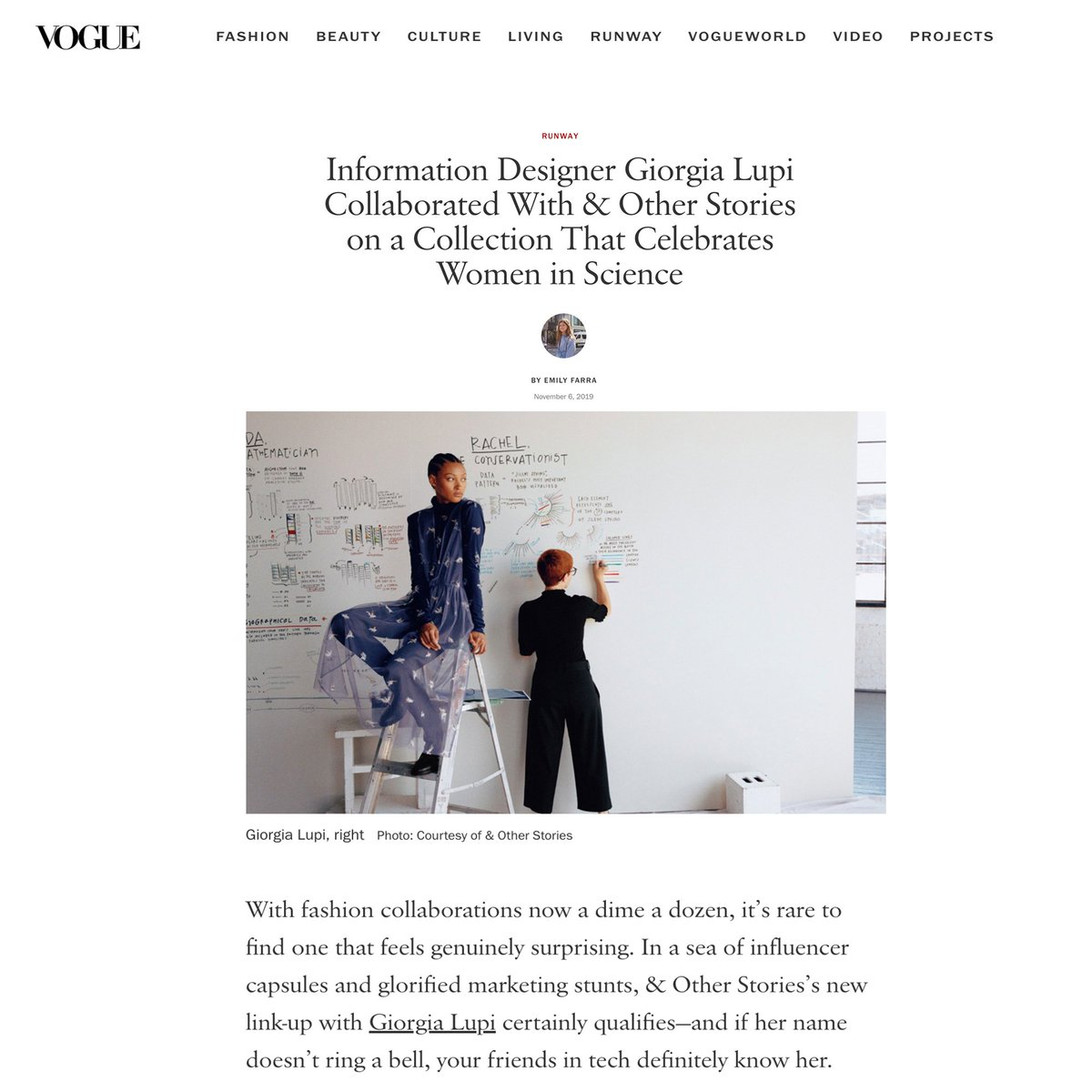 My dear grandmother, who was a seamstress and the first teaching me about beauty and design, would be proud.  We are on @voguemagazine with a preview of my project with #andotherstories!  Excited for the official launch tomorrow https://www.vogue.com/slideshow/giorgia-lupi-other-stories-collaboration… pic.twitter.com/GbKkbVmPJ7