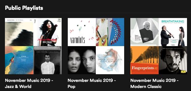 November Music al gevonden op @Spotify? Daar vind je 3 playlists met muziek van onze artiesten in de genres jazz & world, pop en modern klassiek! #Spotify #playlists #muziekfestival >