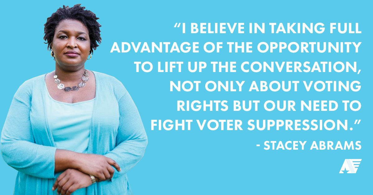 RT if you're in the fight with @stacyabrams to end #votersuppression!