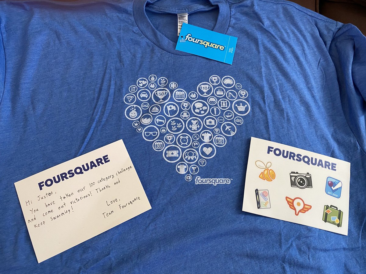 Shout out to the @SwarmApp / @FoursquareGuide team for hooking me up with some swag for checking into all 100 venue categories on Swarm. 🤓