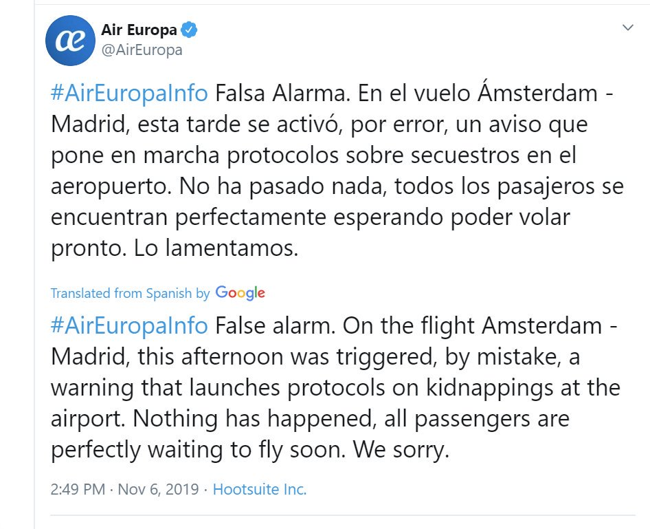 "Translation of ""false alarm"" Tweet by Air Europa"