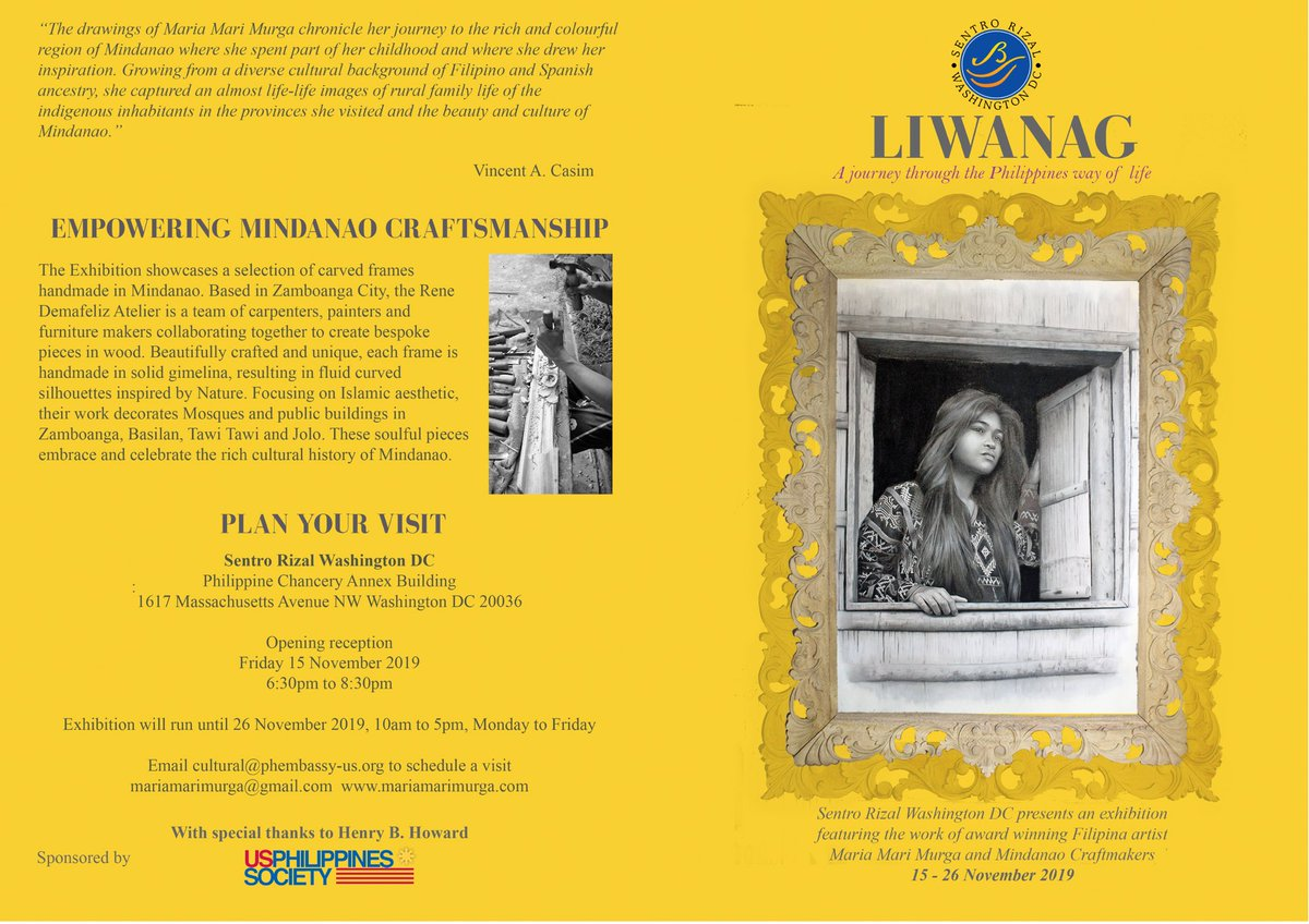 "Sentro Rizal Washington DC, in cooperation w/ US-Philippines Society, presents ""LIWANAG"", an exhibit of d work of award-winning Filipina-Spanish artist Maria Mari Murga & Mindanao Craftmakers on 15-26 Nov. Join us at exhibit opening on 15 Nov, 6:30-8:30PM at PH Chancery Annex"