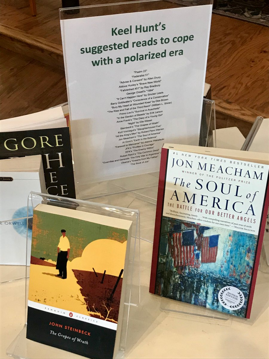 Very nice to see this display at @ParnassusBooks1 today, spinning off my @Tennessean column about finding common ground thru reading the great books, plays & speeches - from Shakespeare to Steinbeck, from @jmeacham & @algore