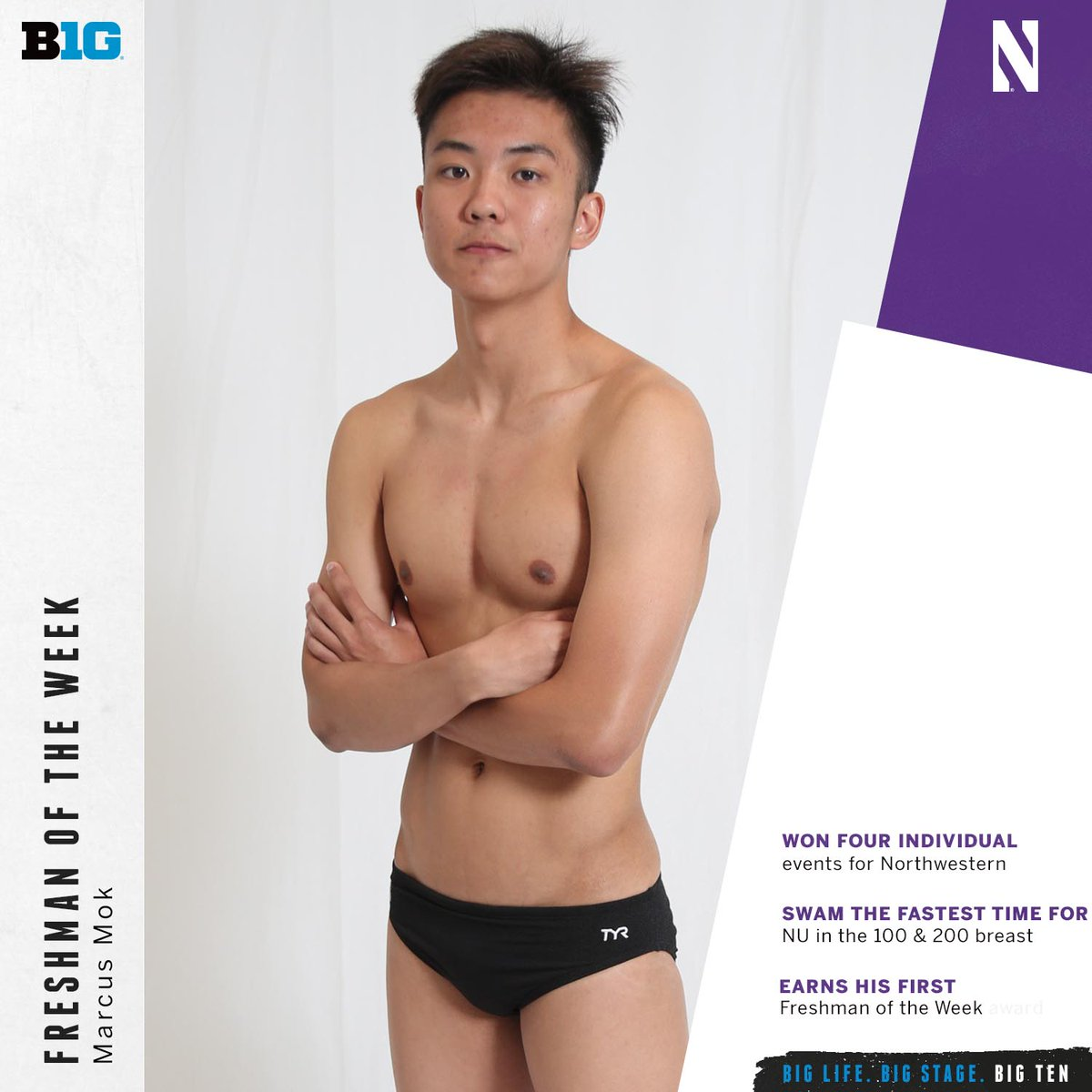 Marcus Mok of @NUSwimDive is the #B1GSD Freshman of the Week.