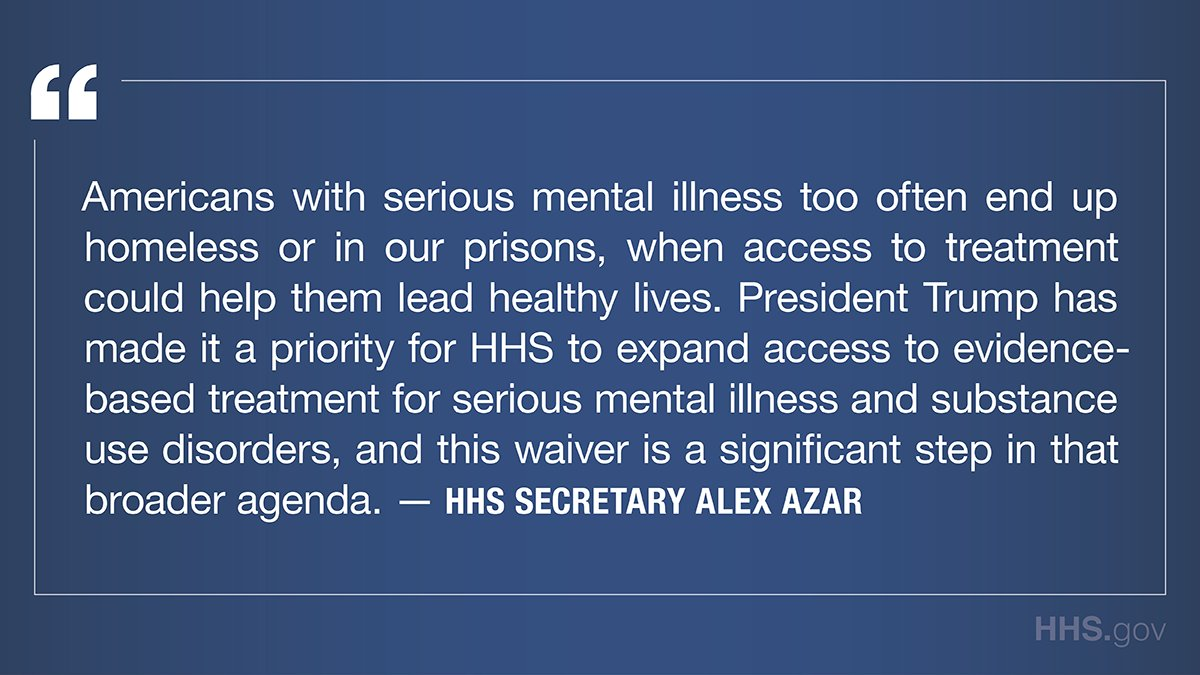 For too long, our system has failed to provide Americans with serious mental illness & their families the treatment & assistance they need. Today we announced the approval of a groundbreaking demonstration to expand access to behavioral health treatment: cms.gov/newsroom/press…