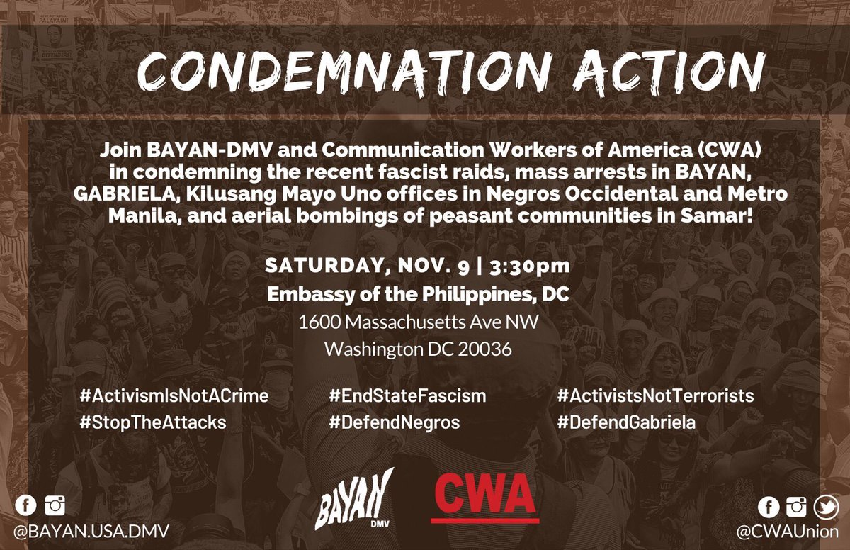 If you're in DC this weekend, come out with us to condemn the recent raids and arrests of Filipino activists by the Duterte regime #StopTheAttacks #ActivismIsNotTerrorism #DefendGabriela pic.twitter.com/RxHesvRuK3