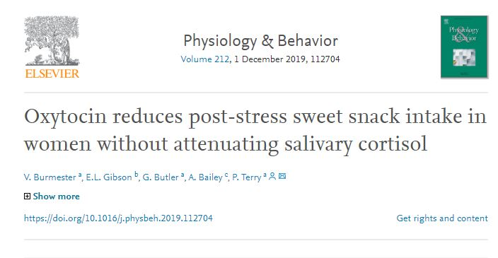 Salivary cortisol was measured on https://doi.org/10.1016/j.physbeh.2019.112704… and found that oxytocin reduces snack intake in females after acute stress. This is  important implications for appetite regulation and its treatment in obese people  #SalivaCortisol #SalivaryBiomarker #SBRC #SalivaELISApic.twitter.com/fhYNyOwtzz