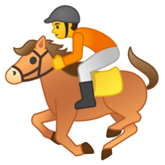 A thread rating the jockeys in every horse racing emoji: Google, Android 10.0 Soft hands, eyes up, nice line from bit to elbow. Rider has slipped into a chair seat, likely because he is riding without stirrups. If horse stops he will fall. Saddle slipped back, poor fit? 5/10