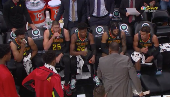 Tensions running high on the Hawks bench 😳