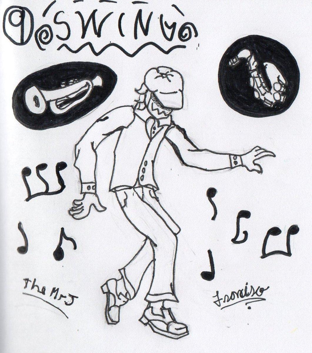 """Estaba pensando en que hacer relacionado con un columpio y no se me ocurría nada hasta que vi que la palabra era también un estilo de música y PUM! Una idea.Practicar poses con imágenes de bailes, que gusto fue.Es un...""""""""avatar""""""""#inktober  #Inktober2019 #inktoberday9 #Swing"""