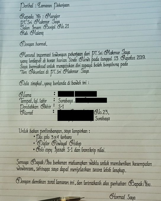 Tulisan Tangan Lamaran Kerja Ini Bagus Dan Rapi Viral !