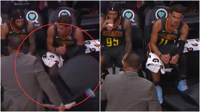 【影片】大比分落後,老鷹助理教練暫停期間怒砸椅子表達不滿,特雷楊悄悄伸腳踢開凳子