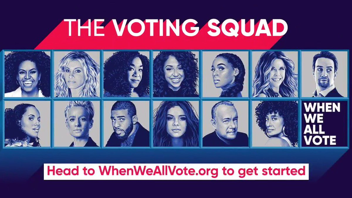 With less than a year to the 2020 elections, its time to start thinking about your #VotingSquad. I've got mine: Shonda. Liza. Selena. Tom. Lin-Manuel. Tracee. Faith. Kerry. Chris. Janelle. Megan. Rita. Join us at whenweallvote.org and learn how you can get involved.