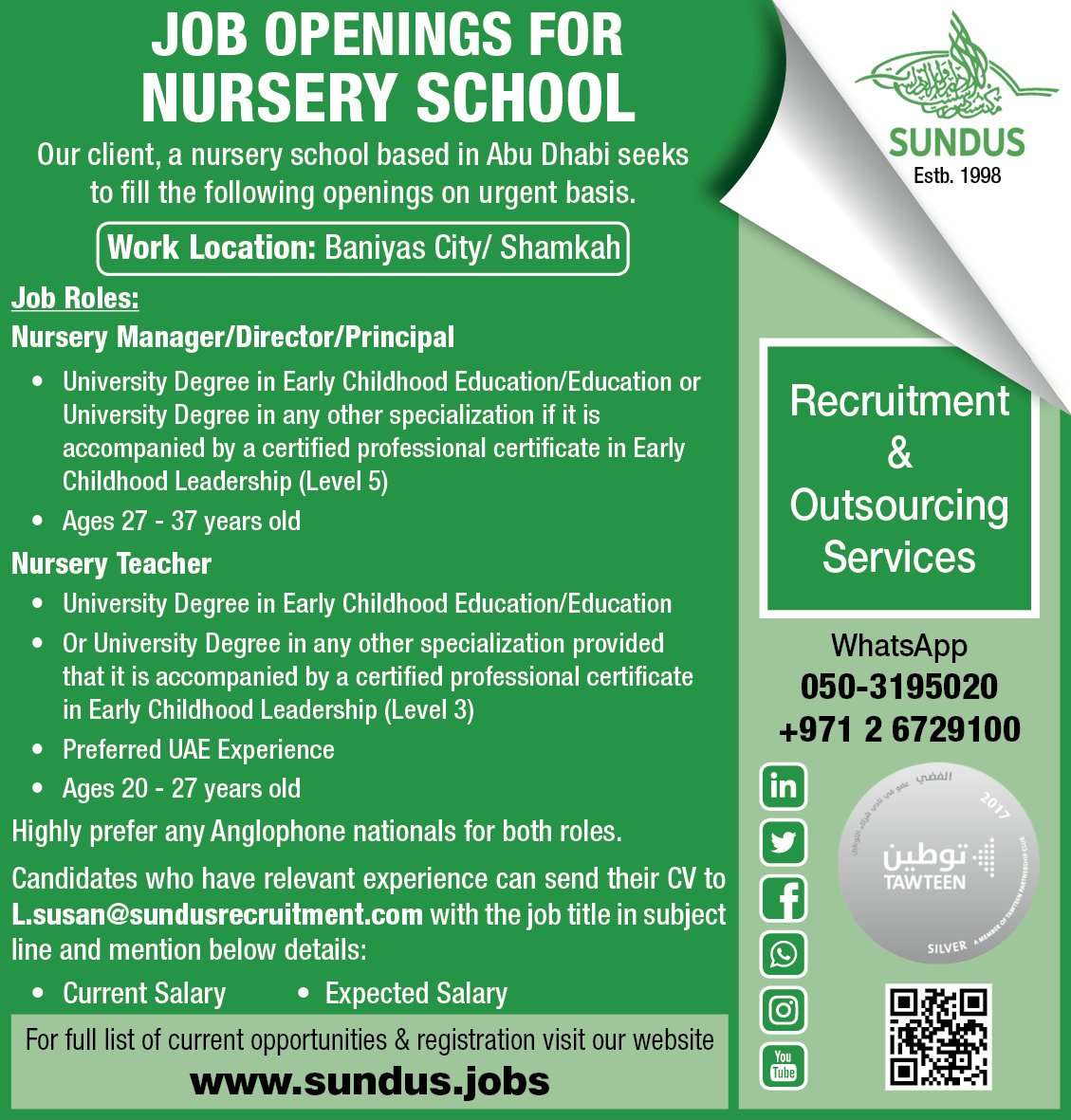 Job Openings For Nursery School