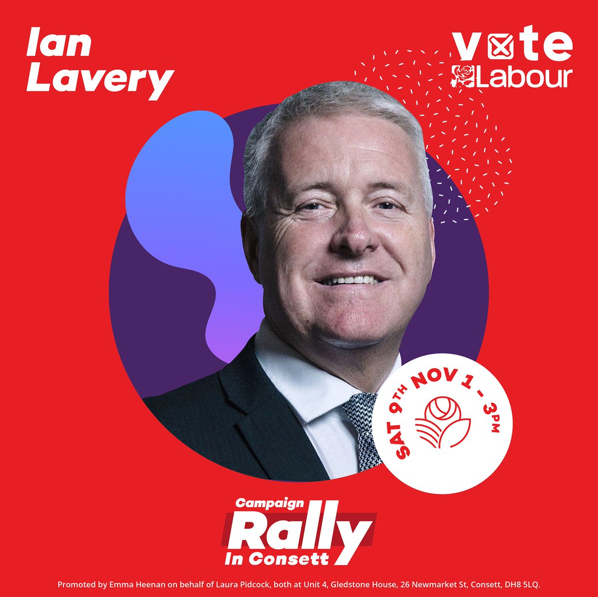So looking forward to our #GE2019 campaign rally on Saturday & welcoming my good friend @IanLaveryMP to Consett. I'm certain Ian will warm the crowd up. The event takes place 1-3pm at St Patricks Church Hall, DH8 5AX. Details & free tickets here: facebook.com/events/4110456…