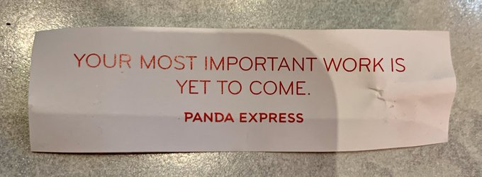 Who needs a bible when you can get your inspiration from a fortune cookie? https://t.co/84QGad5pri