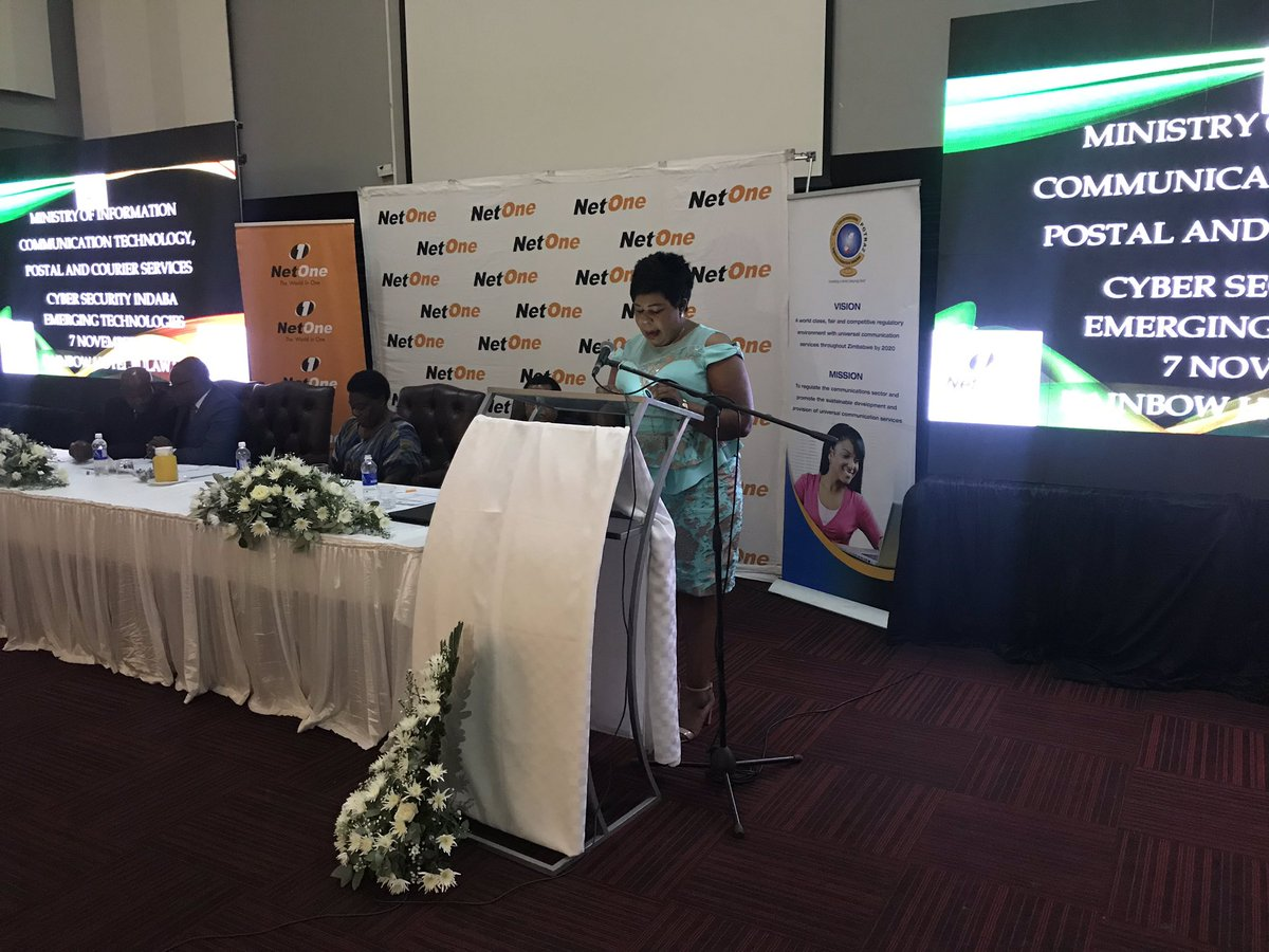 @NetOneCellular Zone Commander @DubeElmah , in her speech at the Cyber Security Conference in Bulawayo cited the phenomenal growth in mobile phone penetration with internet becoming an integral part of our lives (digital economy); a spirit which we must approach cyber security. https://t.co/kxE2UhQMhc