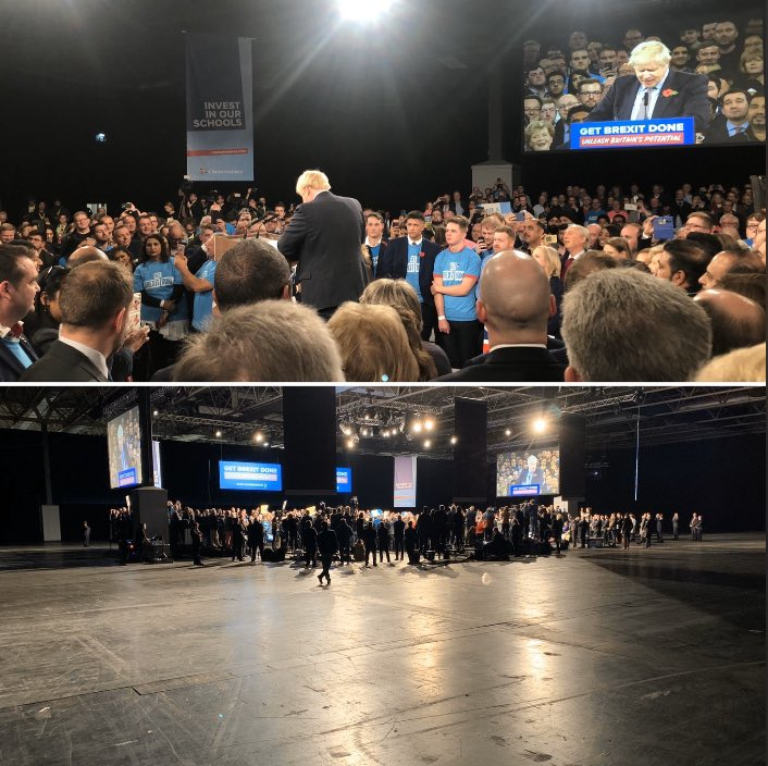 Smoke & mirrors: the image of the @Conservatives campaign launch versus the reality. #GE2019
