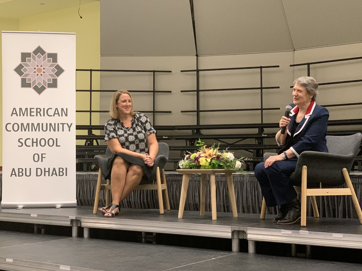 A great discussion on leadership with the Rt. honorable Helen Clark @HelenClarkNZ at American Community School @acsabudhabi #SDG #Education