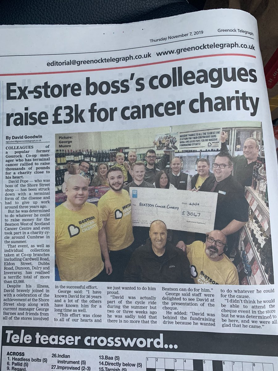 Brilliant coverage of David Pope and NO02/NO07's amazing fundraising efforts for the Beatson Cancer Charity ❤️ #itswhatwedo @coopuk @Beatson_Charity #coopradio