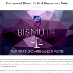 Image for the Tweet beginning: Outcome of #Bismuth's First Governance