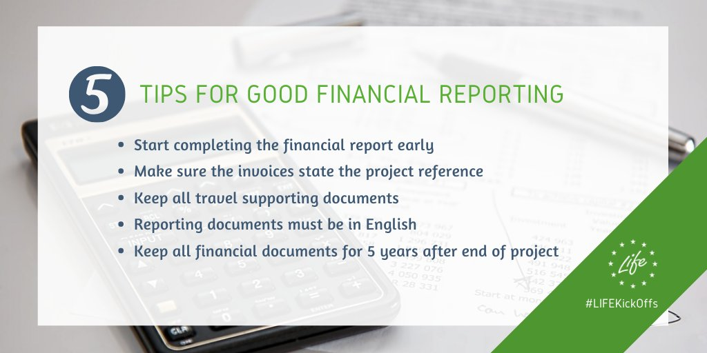 New #LIFEprojects, check this out! Here are our 5️⃣ top tips for successful financial reporting! 💰📈✅ #LIFEKickOffs #LIFEprogramme Don't forget to also take a look at our tips for effective communication on your project ➡️ europa.eu/!dG64Bv