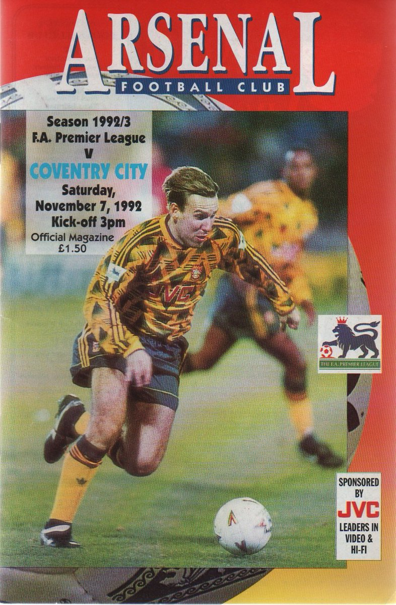 Match day programme from this day in 1992. Arsenal won 3-0 with goals from @9smudge , @IanWright0 and @1kevincampbell #Arsenal #OTD