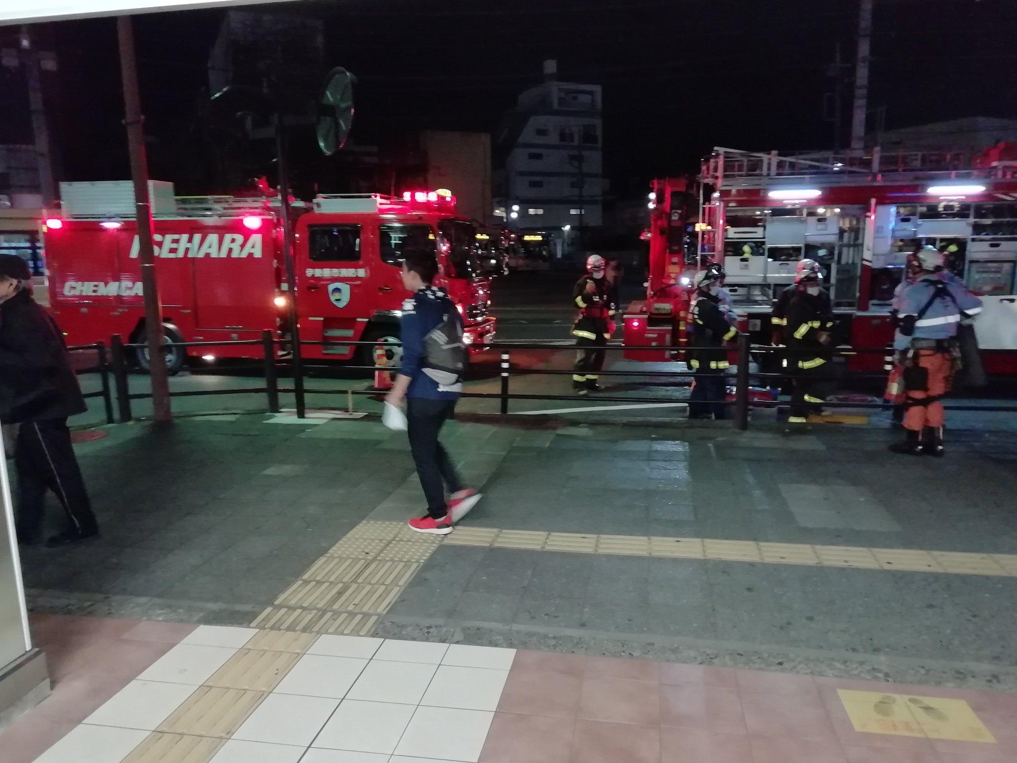 小田急小田原線の伊勢原駅で人身事故の現場画像