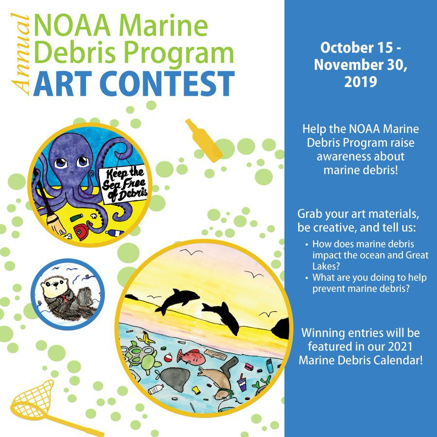 Flyer sharing details for the Marine Debris Art Contest. Click link in tweet for all contest information.
