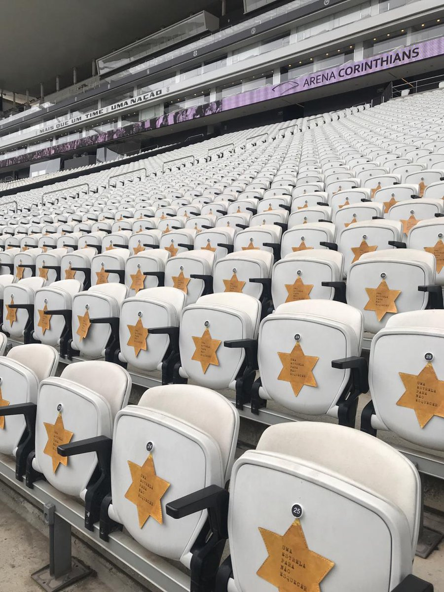 """A Brazilian soccer team wore yellow stars of David as a tribute to Kristallnacht. Seats in this Sao Paulo stadium also displayed yellow stars, with the message """"A star not to forget"""" printed on them:"""