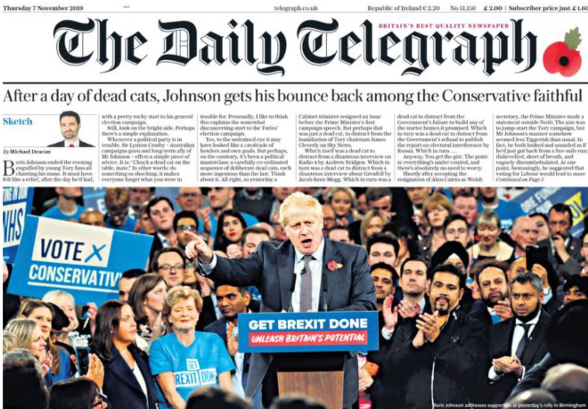 Here's the photo from the front of the Daily Boris from another angle. He was actually speaking to a small, invited audience in a vast echo chamber.