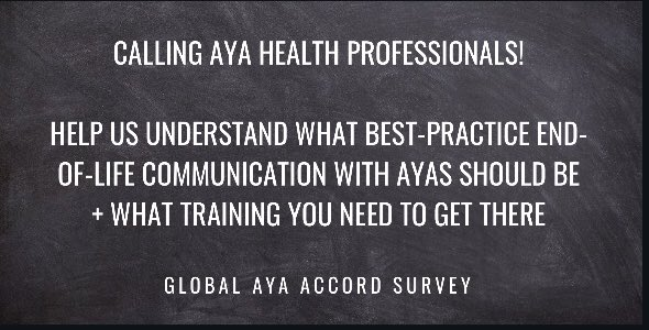 Calling on health professionals who have cared for adolescent and young adult #AYA #cancer patients to complete survey for research See thread @CMRI_AUS @kids_research @KidsCancerInst @SCHNkids @TCRNetwork @SWTCRC @SydneyCatalyst @Sydney_Vital @ConcertTcrc @HCRAAustralia PleaseRT