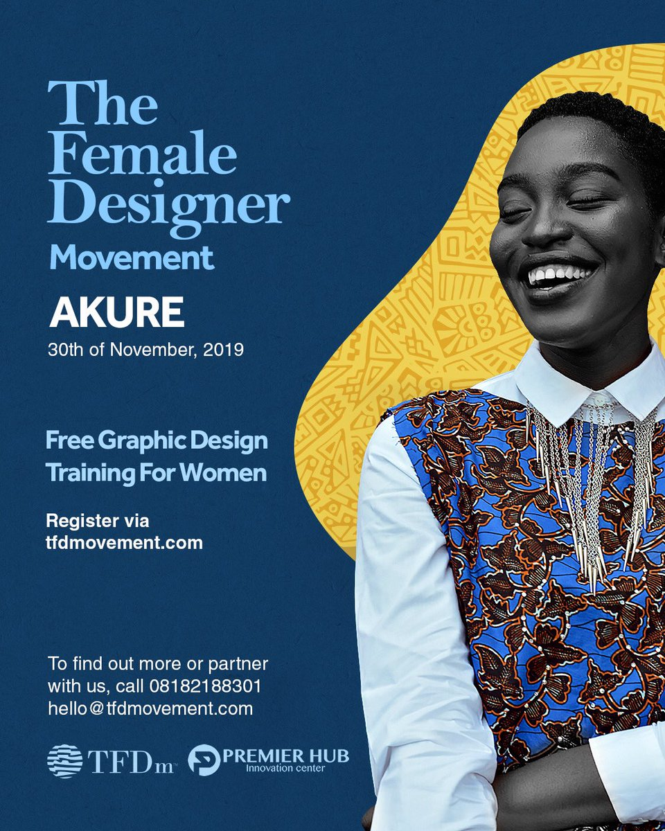 We have trained over 1500 women for free on graphic design in Nigeria and Liberia, we are training 100 more in Akure on the 30th of Nov.  Register via  http:// tfdmovement.com      #womenempowerment #womenintech <br>http://pic.twitter.com/ky1OVfzuDf