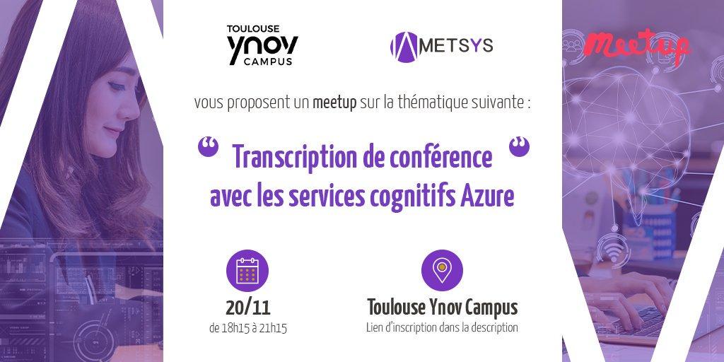 [MEET-UP] – Ynov et Metsys vous convient à une présentation technique autour des services cognitifs Microsoft Azure. Lors de ce meet-up, vous assisterez à un retour d'expérience complet concernant le développement d'une application web. #Metsys #Ynov #Meetup #Event <br>http://pic.twitter.com/ZVJWoywQWb