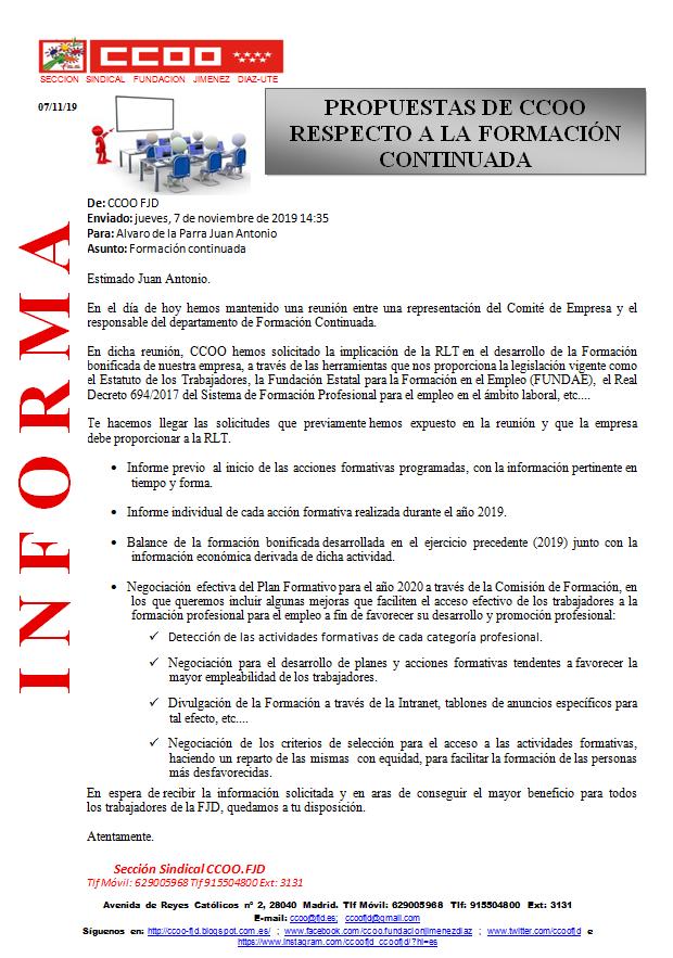 CCOO Fundación Jiménez Díaz: Propuestas de CCOO respecto a la Formación Continu... https://t.co/LQmPXjv0eZ #fundacionjimenezdiaz #informacion #propuestasCCOO #formacion https://t.co/oFRk6TRC0w