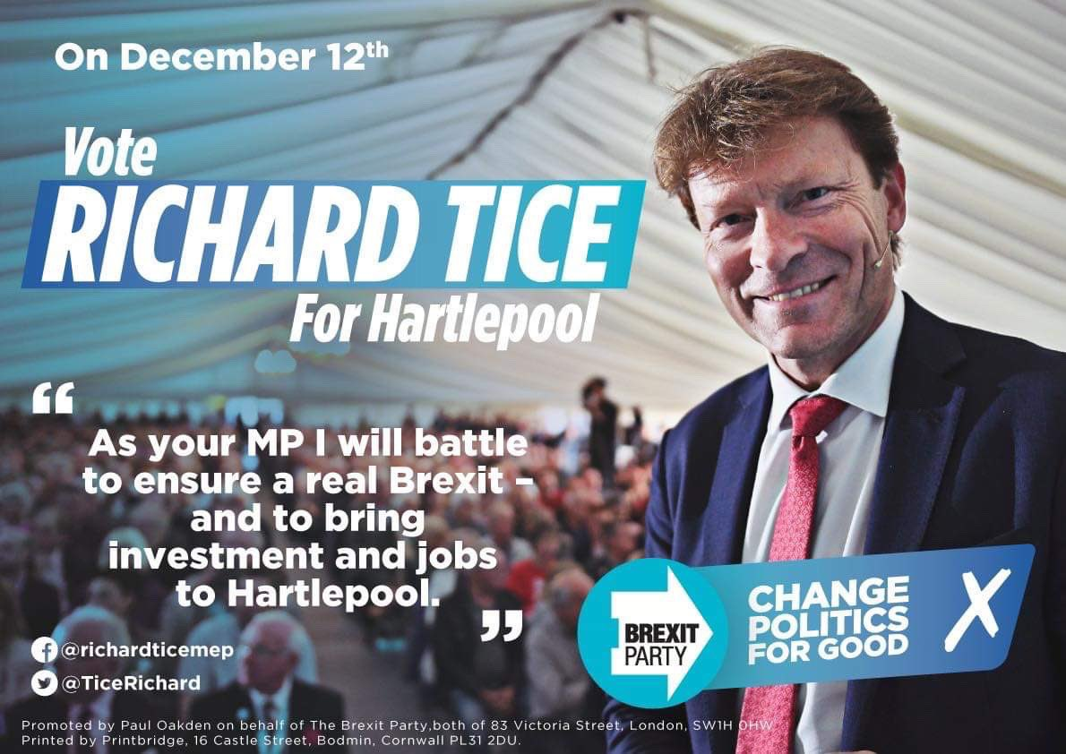 Delighted to announce that I'll be standing as the Brexit Party's candidate for Hartlepool. I have a track record of getting things done and know I can deliver for the town. I'll battle for a proper Brexit, more money into Hartlepool and more jobs for the people here.