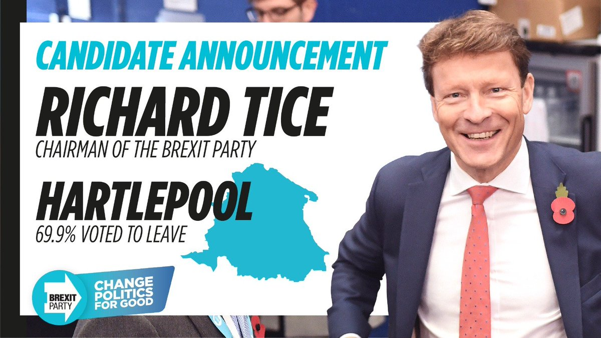 Congratulations @TiceRichard who has just announced he will be standing as The Brexit Party candidate for Hartlepool! #ChangePoliticsForGood