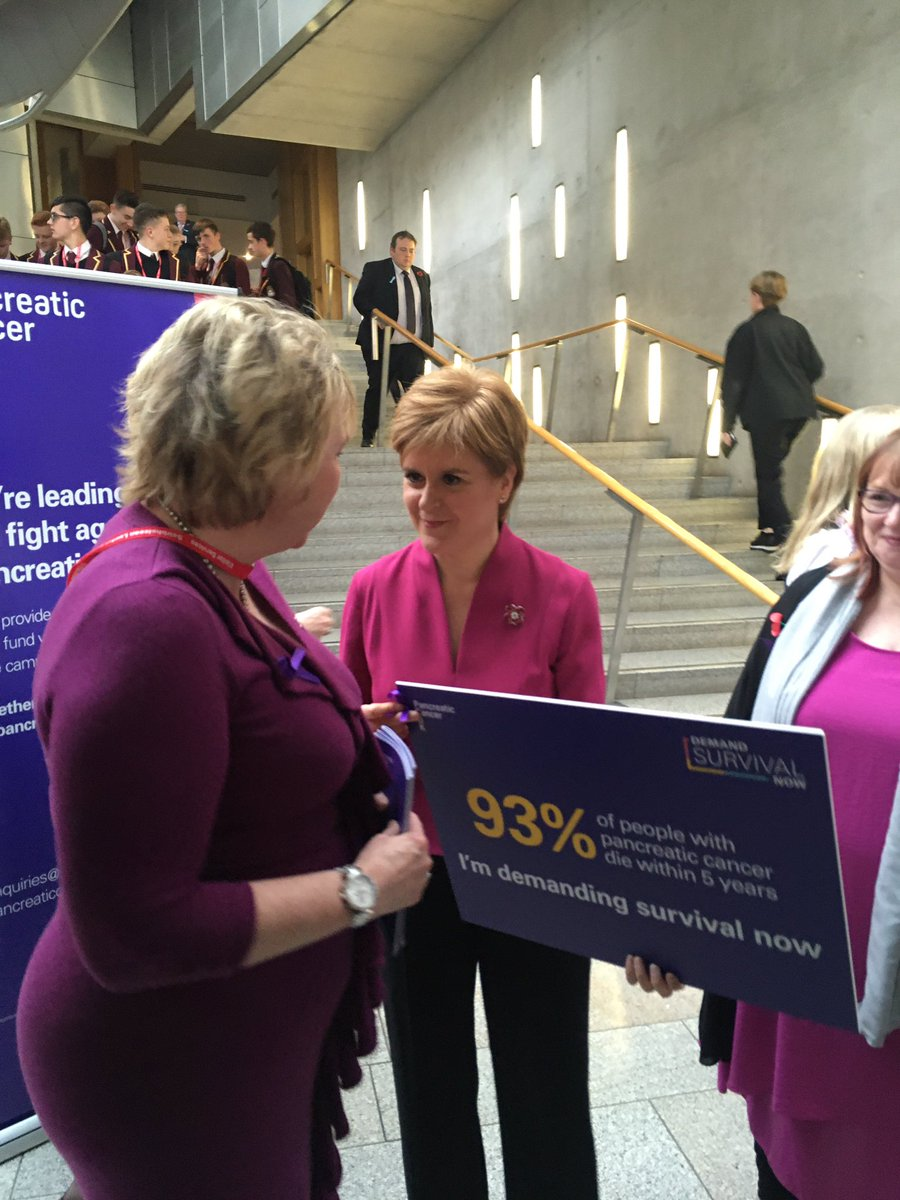 And a big thank you to First Minister @NicolaSturgeon for stopping by to hear from our wonderful supporters like @Kimskye about #pancreaticcancerawarenessmonth and our #DemandSurvivalNow campaign