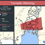 Image for the Tweet beginning: Tornado Warning continues for Baldwin