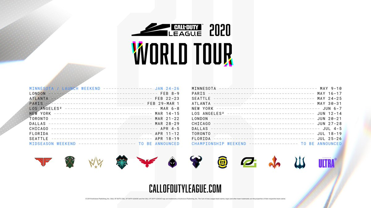 The @CODLeague 2020 World Tour. Sign up for presale access to select events: callofdutyleague.com/events