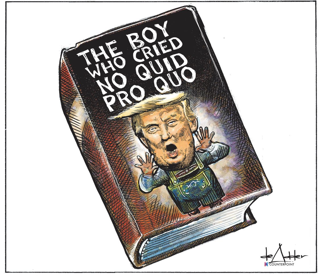 Another amazing work of art from @deAdder! Give us a retweet!  Subscribe to  if you like this cartoon!!  #NoQuidProQuo #QuidProQuo #DonaldTrump